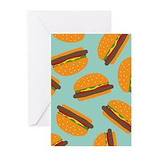 Cute Burger Pattern Greeting Cards