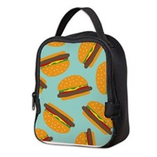 Cute Burger Pattern Neoprene Lunch Bag