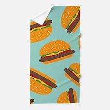 Cute Burger Pattern Beach Towel