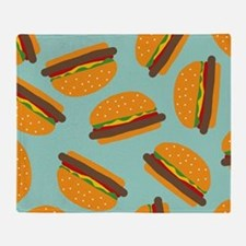 Cute Burger Pattern Throw Blanket