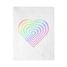 Nested Hearts, Pastel Rainbow - Girl Tease Twin Du