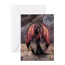 Autumn Mystique Gothic Fairy and Cat Art Greeting
