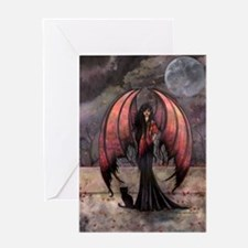 Autumn Mystique Gothic Fairy and Cat Art Greeting