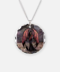 Autumn Mystique Gothic Fairy and Cat Art Necklace