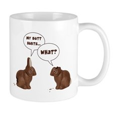 Chocolate Easter Bunny Rabbits Butt Hurts Mugs