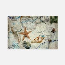 seashells nautical map vintage anchor Magnets