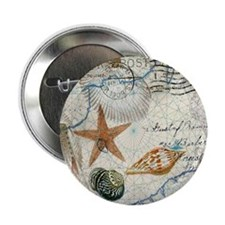 "seashells nautical map vintage anchor 2.25"" Button"