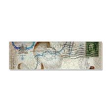 seashells nautical map vintage anchor Car Magnet 1