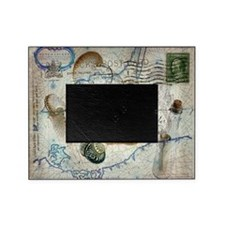 seashells nautical map vintage anchor Picture Frame