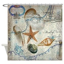 seashells nautical map vintage anchor Shower Curta