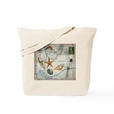 seashells nautical map vintage anchor Tote Bag
