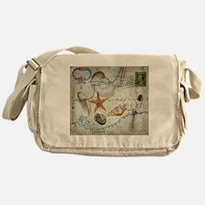 seashells nautical map vintage anchor Messenger Ba