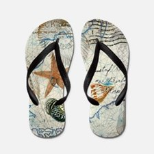 seashells nautical map vintage anchor Flip Flops