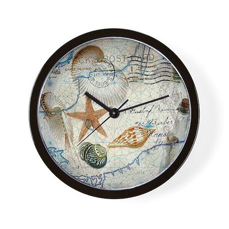 Seashells nautical map vintage anchor wall clock by for Seashell wall clock