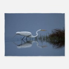 great white egret 5'x7'Area Rug