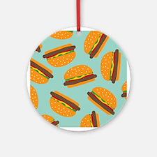 Cute Burger Pattern Ornament (Round)