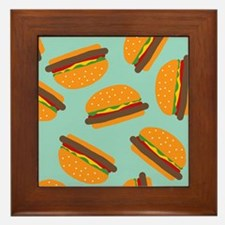 Cute Burger Pattern Framed Tile