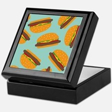 Cute Burger Pattern Keepsake Box