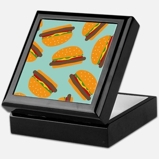 Cute Burger Pattern Keepsake Box