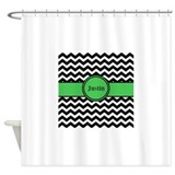 Chevron green Shower Curtains