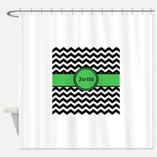Black Green Chevron Personalized Shower Curtain