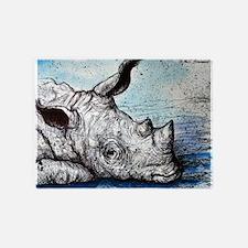 Rhino! Wildlife art! 5'x7'Area Rug