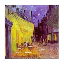 van gogh cafe terrace at night Tile Coaster