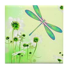 Green Dragonfly Summer Tile Coaster