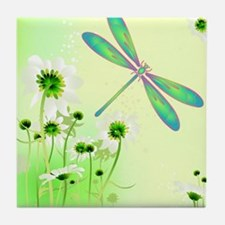Green Dragonfly Summer Tile Coaster