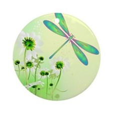Green Dragonfly Summer Ornament (Round)