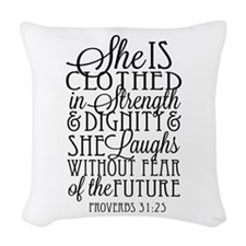 Clothed In Strength Dignity Woven Throw Pillow
