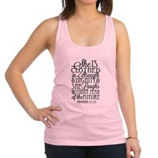 Clothed In Strength Dignity Racerback Tank Top