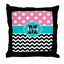 Pink Teal Black Chevron Dots Personalized Throw Pi