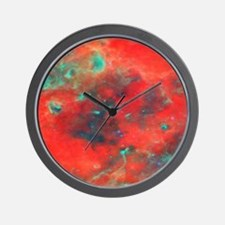 Orange Galaxy print Wall Clock