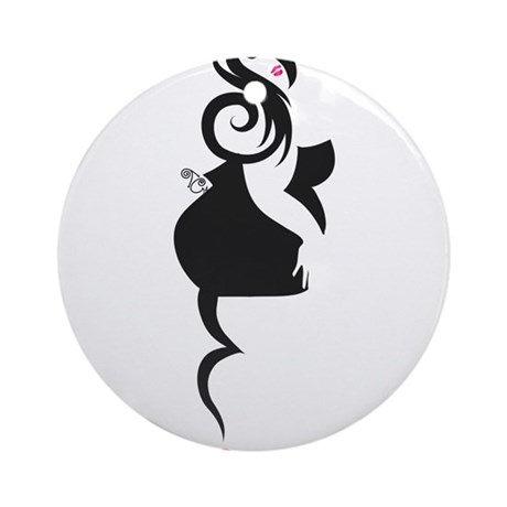 Curvy PinUp Girl Ornament (Round)