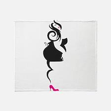 Curvy PinUp Girl Throw Blanket
