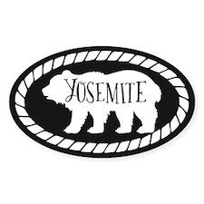Yosemite Rustic Bear White Sticker (oval)