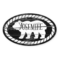 Yosemite Rustic Bear White Sticker (oval)