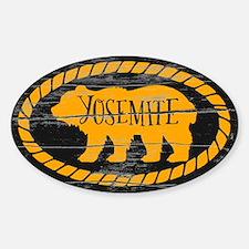 Yosemite Rustic Bear Gold Sticker (oval)