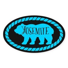 Yosemite Rustic Bear Mint Sticker (oval)