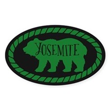 Yosemite Rustic Bear Forest Sticker (oval)