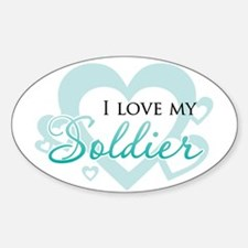 My hero wears combat boots - Oval Decal