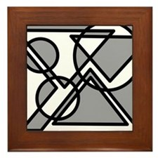 Triangles And Circles #5 (gray) Framed Tile