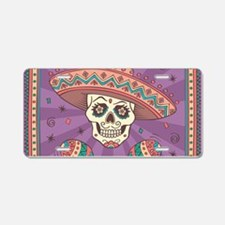 Mexican Skull Aluminum License Plate
