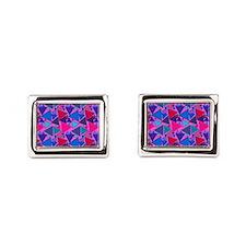 Pink and Blue Triang Rectangular Cufflinks