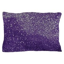Purple Glitter  Bokeh Pillow Case