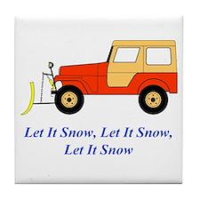 Let It Snow Plow Tile Coaster