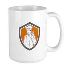 Chef Cook Baker Pointing Up Shield Mugs