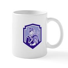Scotsman Bagpiper Play Bagpipes Retro Shield Mugs