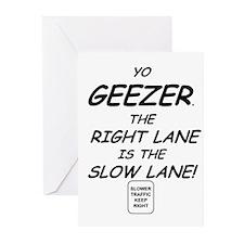 Geezers get in the slow lane Greeting Cards (Packa